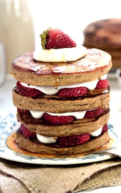 Strawberry Shortcake Pancakes (GF) A Dash of Compassion